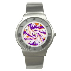 Tie Dye Purple Orange Abstract Swirl Stainless Steel Watch