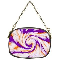 Tie Dye Purple Orange Abstract Swirl Chain Purses (One Side)
