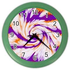 Tie Dye Purple Orange Abstract Swirl Color Wall Clocks