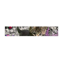 Emma In Flowers I, Little Gray Tabby Kitty Cat Flano Scarf (Mini)