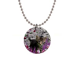 Emma In Flowers I, Little Gray Tabby Kitty Cat Button Necklaces