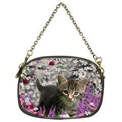 Emma In Flowers I, Little Gray Tabby Kitty Cat Chain Purses (one Side)