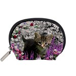 Emma In Flowers I, Little Gray Tabby Kitty Cat Accessory Pouches (Small)  Front