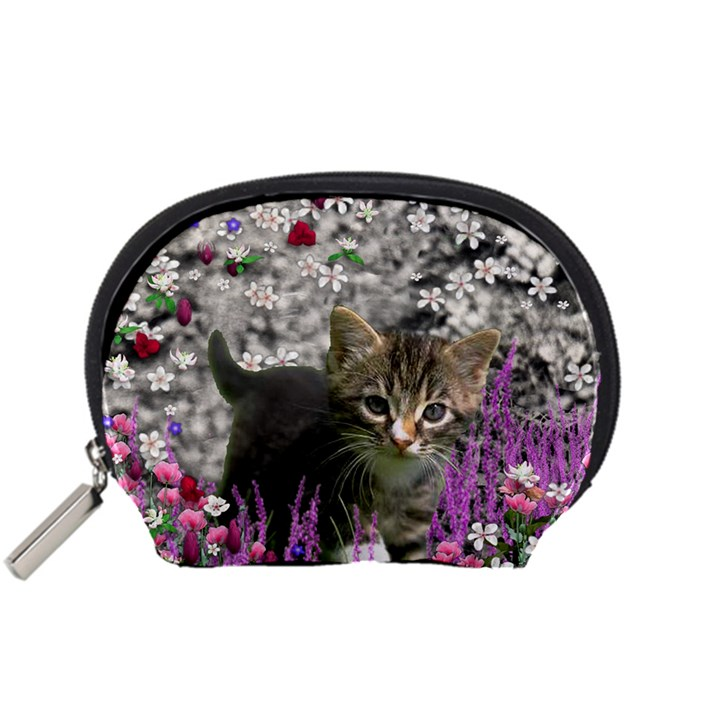 Emma In Flowers I, Little Gray Tabby Kitty Cat Accessory Pouches (Small)