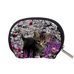 Emma In Flowers I, Little Gray Tabby Kitty Cat Accessory Pouches (Small)  Back