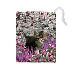 Emma In Flowers I, Little Gray Tabby Kitty Cat Drawstring Pouches (large)