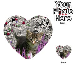 Emma In Flowers I, Little Gray Tabby Kitty Cat Playing Cards 54 (Heart)