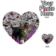 Emma In Flowers I, Little Gray Tabby Kitty Cat Multi Purpose Cards (heart)