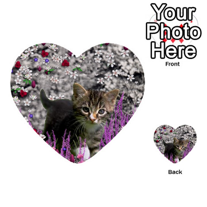 Emma In Flowers I, Little Gray Tabby Kitty Cat Multi-purpose Cards (Heart)