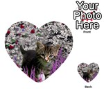 Emma In Flowers I, Little Gray Tabby Kitty Cat Multi-purpose Cards (Heart)  Front 51