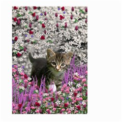 Emma In Flowers I, Little Gray Tabby Kitty Cat Large Garden Flag (Two Sides)