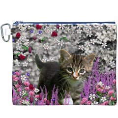 Emma In Flowers I, Little Gray Tabby Kitty Cat Canvas Cosmetic Bag (XXXL)