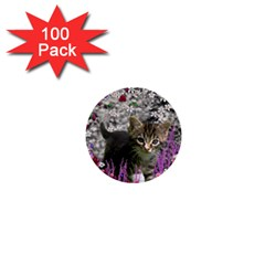 Emma In Flowers I, Little Gray Tabby Kitty Cat 1  Mini Buttons (100 pack)