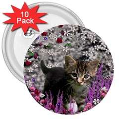 Emma In Flowers I, Little Gray Tabby Kitty Cat 3  Buttons (10 pack)