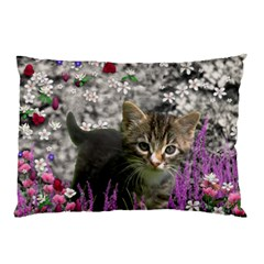Emma In Flowers I, Little Gray Tabby Kitty Cat Pillow Case (Two Sides)