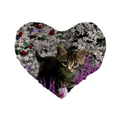 Emma In Flowers I, Little Gray Tabby Kitty Cat Standard 16  Premium Flano Heart Shape Cushions