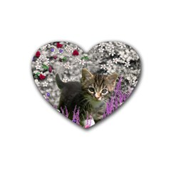 Emma In Flowers I, Little Gray Tabby Kitty Cat Heart Coaster (4 pack)