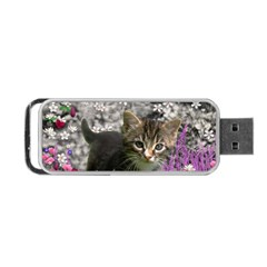 Emma In Flowers I, Little Gray Tabby Kitty Cat Portable USB Flash (Two Sides)