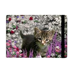 Emma In Flowers I, Little Gray Tabby Kitty Cat Apple iPad Mini Flip Case