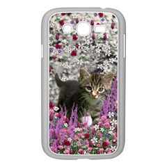 Emma In Flowers I, Little Gray Tabby Kitty Cat Samsung Galaxy Grand DUOS I9082 Case (White)