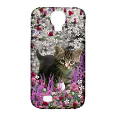 Emma In Flowers I, Little Gray Tabby Kitty Cat Samsung Galaxy S4 Classic Hardshell Case (pc+silicone)