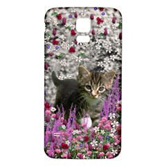 Emma In Flowers I, Little Gray Tabby Kitty Cat Samsung Galaxy S5 Back Case (White)