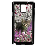 Emma In Flowers I, Little Gray Tabby Kitty Cat Samsung Galaxy Note 4 Case (Black) Front