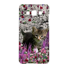 Emma In Flowers I, Little Gray Tabby Kitty Cat Samsung Galaxy A5 Hardshell Case