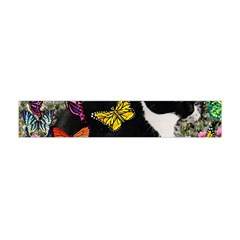 Freckles In Butterflies I, Black White Tux Cat Flano Scarf (mini)