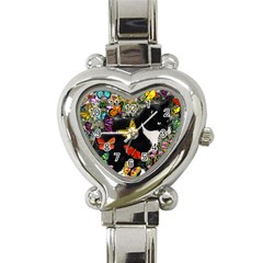 Freckles In Butterflies I, Black White Tux Cat Heart Italian Charm Watch