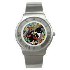 Freckles In Butterflies I, Black White Tux Cat Stainless Steel Watch