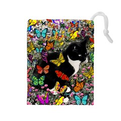 Freckles In Butterflies I, Black White Tux Cat Drawstring Pouches (Large)