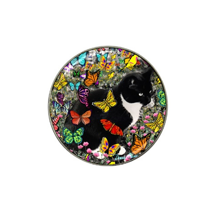 Freckles In Butterflies I, Black White Tux Cat Hat Clip Ball Marker (10 pack)