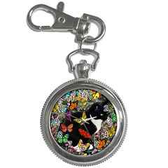 Freckles In Butterflies I, Black White Tux Cat Key Chain Watches