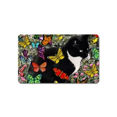 Freckles In Butterflies I, Black White Tux Cat Magnet (Name Card)