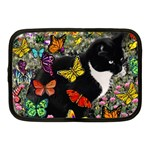 Freckles In Butterflies I, Black White Tux Cat Netbook Case (Medium)  Front