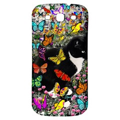 Freckles In Butterflies I, Black White Tux Cat Samsung Galaxy S3 S III Classic Hardshell Back Case