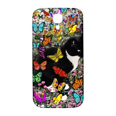 Freckles In Butterflies I, Black White Tux Cat Samsung Galaxy S4 I9500/I9505  Hardshell Back Case