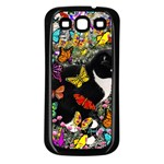 Freckles In Butterflies I, Black White Tux Cat Samsung Galaxy S3 Back Case (Black) Front