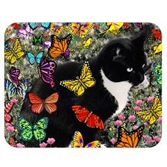 Freckles In Butterflies I, Black White Tux Cat Double Sided Flano Blanket (Medium)
