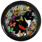Freckles In Butterflies I, Black White Tux Cat Wall Clocks (Black) Front