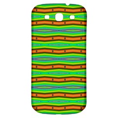 Bright Green Orange Lines Stripes Samsung Galaxy S3 S III Classic Hardshell Back Case