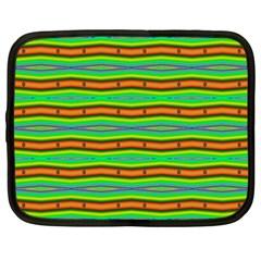 Bright Green Orange Lines Stripes Netbook Case (xxl)