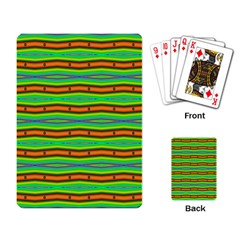 Bright Green Orange Lines Stripes Playing Card