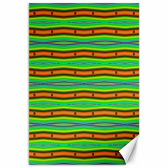 Bright Green Orange Lines Stripes Canvas 12  x 18