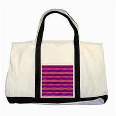 Bright Pink Purple Lines Stripes Two Tone Tote Bag