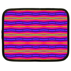 Bright Pink Purple Lines Stripes Netbook Case (Large)
