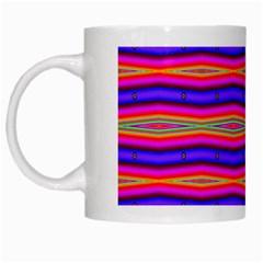 Bright Pink Purple Lines Stripes White Mugs