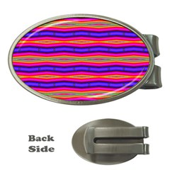 Bright Pink Purple Lines Stripes Money Clips (Oval)