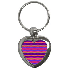 Bright Pink Purple Lines Stripes Key Chains (Heart)